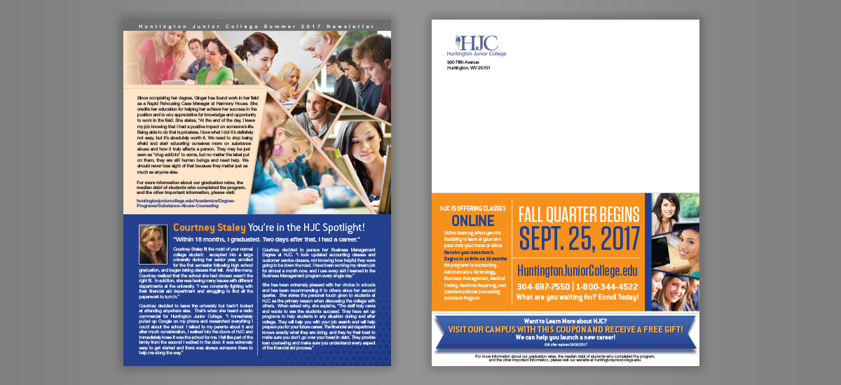 huntington junior college print newsletter the barnes agency
